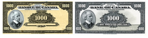 Two images of thousand-dollar bills side by side; the draft bill on the left is gray and yellow and the final bill on the right is white and grey.