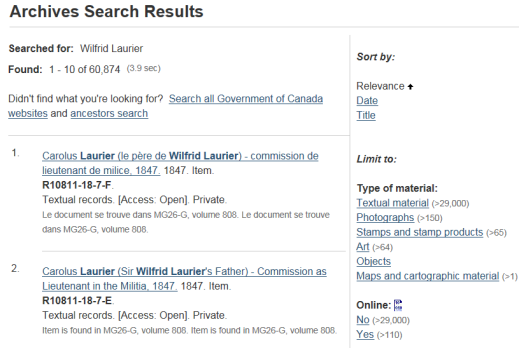 "A screen capture of a web page showing the results from a search on ""Wilfrid Laurier"" using <abbr title="