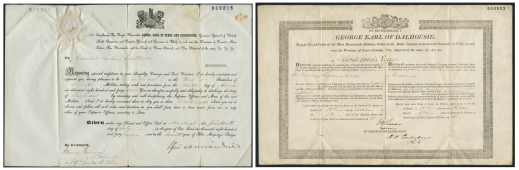 Two manuscripts side by side. The paper on the left was delivered to Carolus Laurier and issued by The Right Honourable James, Earl of Elgin and Earl of Kincardine. The paper on the right was delivered to Charles Laurier by George, Earl of Dalhousie.