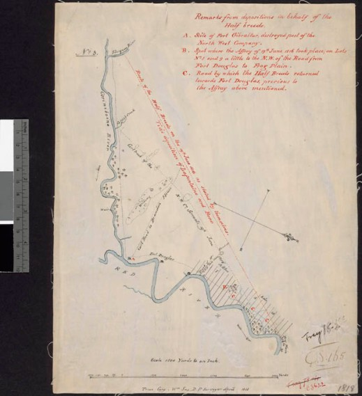 Map showing the Assiniboine and Red Rivers, where they join, and farm lots on cream-coloured paper. The rivers are drawn in blue ink, general information is written in black ink, and the legend and a special note are written in red ink.