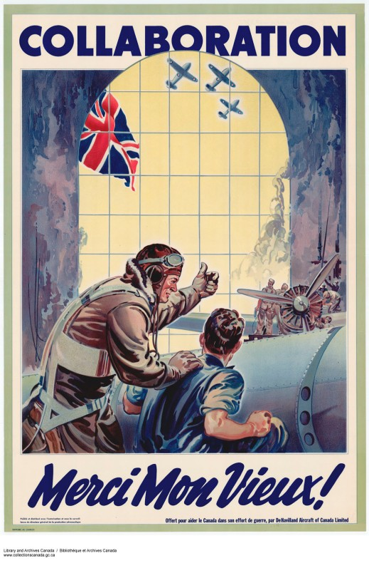 "A colour print showing a pilot talking to a mechanic in an airplane hangar. Flying planes and a British flag can be seen through the window. The word ""Collaboration"" is written at the top of the poster and ""Merci Mon Vieux!"" is at the bottom."
