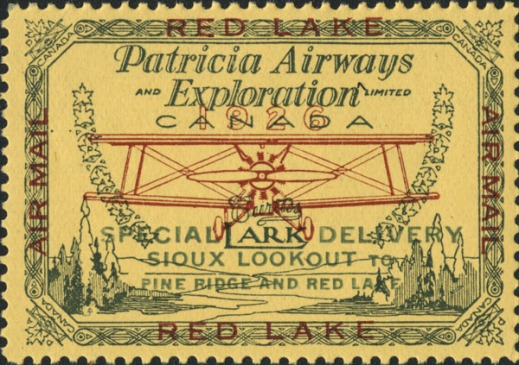 "A yellow, green and red postage stamp showing a frontal view of a Curtiss Lark airplane in flight with trees and water below. The words ""Patricia Airways and Exploration Limited"" appear above the plane and ""Special Delivery, Sioux Lookout to Pine Ridge and Red Lake"" appear below it. Bordering the stamp is a line design with maple leaf motif in each corner, accompanied by the word ""Canada."" The words ""Airmail"" and ""Red Lake"" appear on the four sides of the stamp."