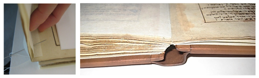 On the left, a close-up of a hand holding a page of a book and a needle piercing through the page. On the right, a close-up of the bottom spine of the book laying open on a table.