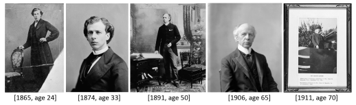 Five black-and-white photographs of the same man side by side at these approximate ages, left to right: 24, 33, 50, 65 and 70 years old.