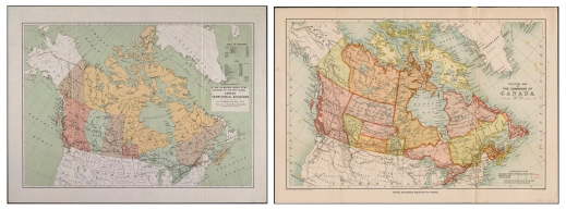 Two coloured maps of Canada side by side.