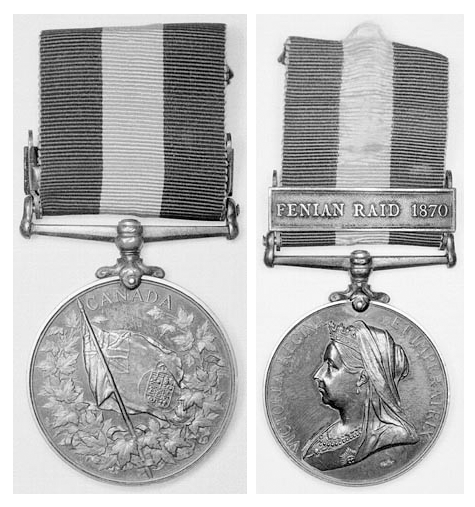 Two black-and-white photographs of both sides of a medal. On one side is a flag surrounded by maple leaves. On the other side is a woman wearing a crown.