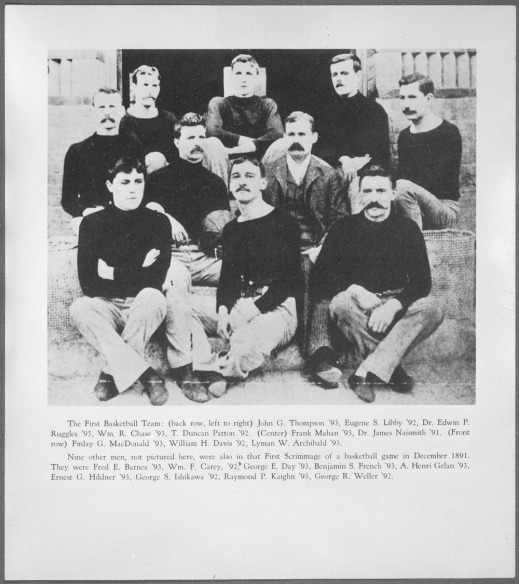 A black-and-white photograph with a list of all the players pictured, as well as those missing from the photograph who were part of the first team.