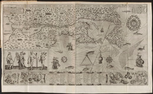 Engraved map of New France. The land mass with trees, mountains and rivers is bordered by the ocean, which depicts ships and sea life. A compass, seal and sun are also included. A scene of First Nations people is set above a band of plant life surrounding the legend.