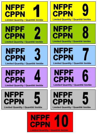 A colour image of two columns of five tags that all have the acronyms NFPF and CPPN on them and a number from 1 to 10.