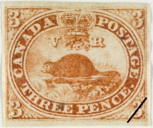 "A square sepia stamp. Each corner has the number three indicating the cost. A ring around the center reads, ""Canada Postage Three Pence"" with a crown between the top words. In the center of the circle is a beaver beside running water with a mountain and trees in the background."