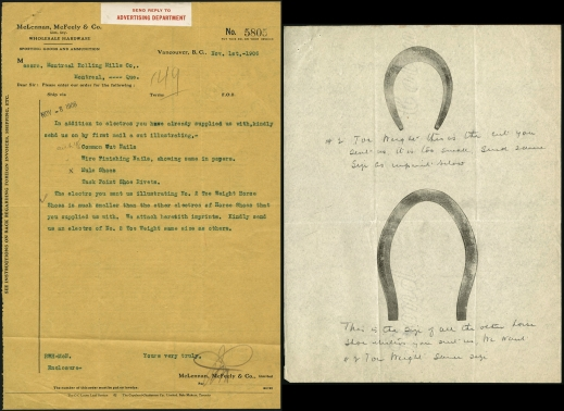 Letter and drawings showing the manufacture of horseshoes in 1906.