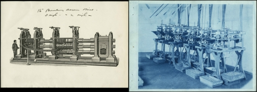 Two images showing machines to manufacture nuts and similar items. The first is a sketch of a machine for producing nails, screws and bolts in 1908. The second is a photograph of a machine to manufacture nails.