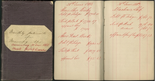 Colour image showing the cover and two pages of an account book belonging to C.S. Watson in 1883.