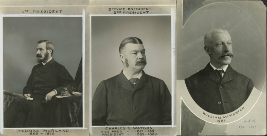 Black-and-white photographs of three middle-aged men.
