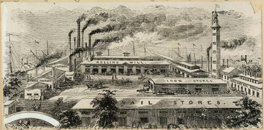 Black-and-white drawing showing an industrial complex in 1868.
