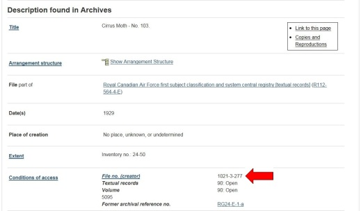 Screenshot of the results of an archives search. A big red arrow indicates the reference to Block 1021.