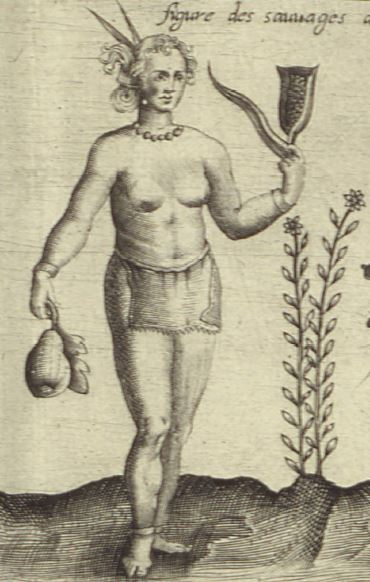 Drawing of an Amerindian woman in a loincloth, holding a squash and an ear of corn in her hands and standing beside a Jerusalem artichoke.