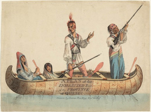 A watercolour showing four Amerindians in a canoe: a woman, two men and a child, possibly on a duck hunt. Their clothing and accessories are a mix of Amerindian and European elements (particularly fabrics and jewellery). The woman is sitting in the stern and paddling. The two men are standing, with rifles in their hands; they have tattoos on their faces. There is also a dog in the canoe.