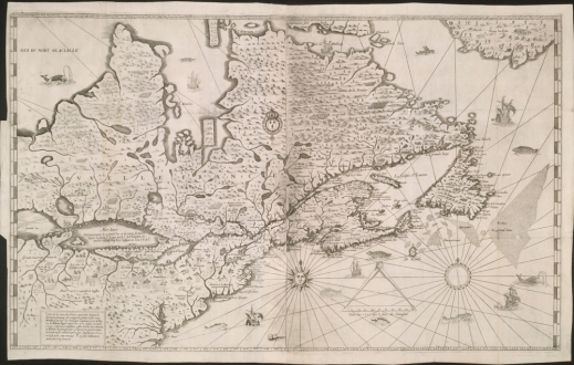 Champlain's last map, published in 1632, showing what he knew about North America from the Atlantic coast to part of the Great Lakes in the west. It includes Hudson Bay and a number of bodies of water, mountains, forests, Amerindian nations and European settlements. The map is also decorated with several drawings of ships, animals and fish, and it includes a scale and a compass rose.