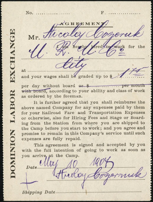 Photograph of a Dominion Labour Exchange form used to hire a foreign worker in 1907.