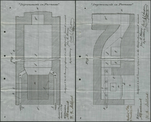 Photographs showing two drawings by John Randolph Hersey for a patent, 1891.