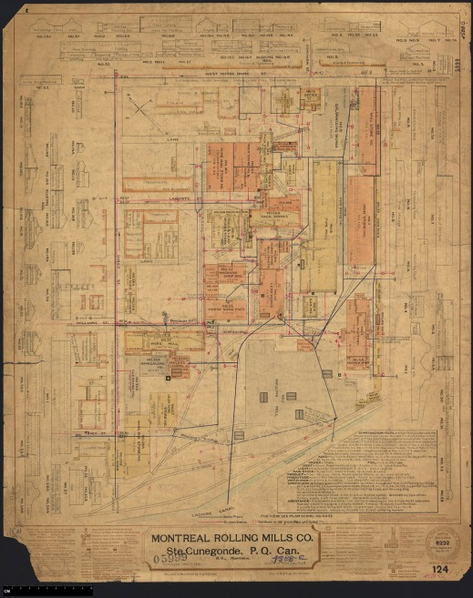 Insurance plan for the Montreal Rolling Mills Co. in 1901, with changes made in 1907.