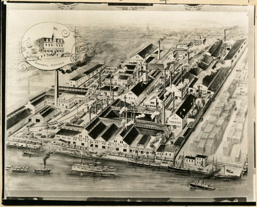 A black-and-white drawing showing an industrial complex in 1900.