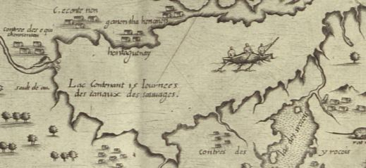 Detail of map showing Lake Ontario and Niagara Falls. Three Amerindians are canoeing on the lake, which is surrounded by groups of longhouses.