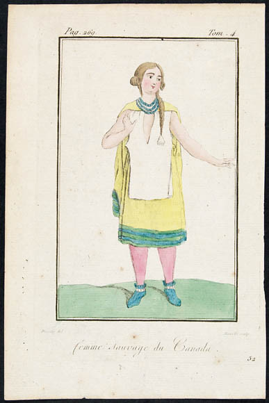 A colourful print of a pale woman with blond hair dressed in a yellow dress with green edging, white apron and pink tights. She is also wearing a blue necklace and blue boots.