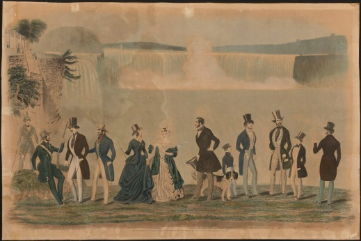 A colourful fashion plate depicting well-dressed men and women in front of Niagara Falls.