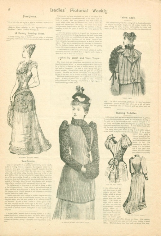 A page of black-and-white drawings of women in different gowns including a tea gown, outer wear, and an evening gown.