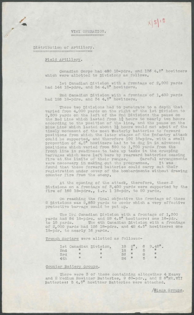 A typewritten, undated report on the Vimy Ridge artillery operations that briefly explains the tactics used to secure the various objectives.