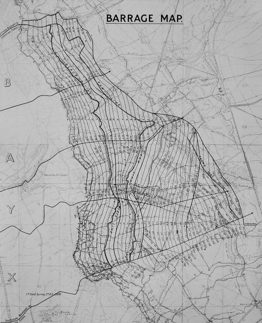 A black-and-white map showing the area around Vimy Ridge. The map is covered in wavy lines representing the rolling artillery barrage while the different objectives of the attack (black, red, blue, and brown) are represented by thicker lines.