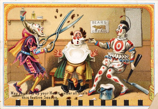 A colour postcard showing a clown at the barber shop getting his hair and beard trimmed by two other clowns.