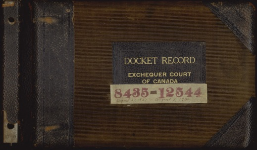 "Cover of an album, bound in leather and worn corded velvet, on which is written: ""Docket Record. Exchequer Court of Canada. 8435-12544. August 27, 1927–August 5, 1930""."
