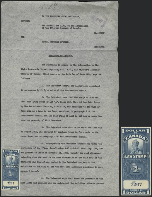 "Typed page showing Mrs. Spencer's statement of defence. A stamp with the image of King George V is affixed at the bottom of the page, with the legend ""1 Dollar. Canada. Law Stamp."""