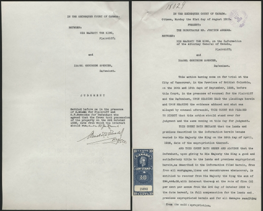 Two typed pages of a judgment. The first (cover page) shows basic information: name, files, date, etc. The second page shows the text of the judgment.