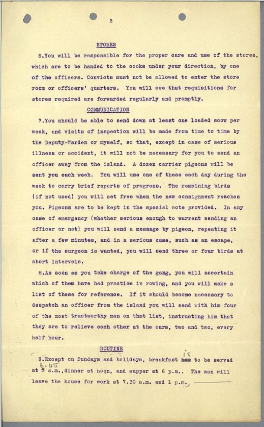 A typed, mimeographed page describing how regular and emergency communication will take place by carrier pigeon between Goose Island and the New Westminster Penitentiary.