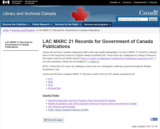 Screenshot of the LAC webpage for MARC records for Government of Canada Publications.