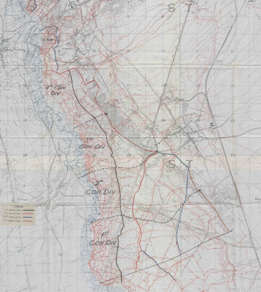A map of the Vimy crest showing the four stages of military objectives in colour: 1st objective in black, 2nd objective in red, 3rd objective in blue and 4th objective in brown.