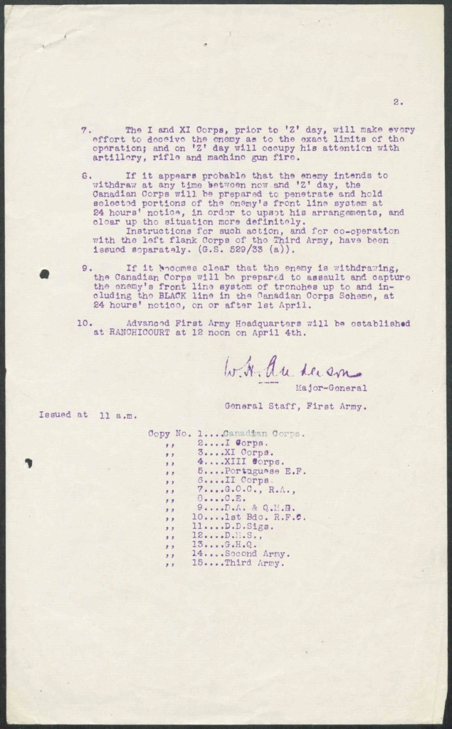 """Two pages of typed, mimeographed orders outlining the target, the armies involved, the date and time of attack (""""Day Z""""), the use of artillery, the use of deceptive tactics to hide extent of power, contingency plans surrounding withdrawal of German troops prior to Day Z and the location of the Advanced First Army Headquarters on April 4th."""