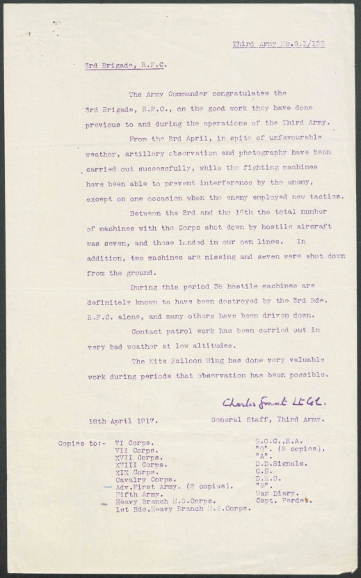 A typed and signed letter from the Lieutenant-Colonel to the Royal Flying Corps.