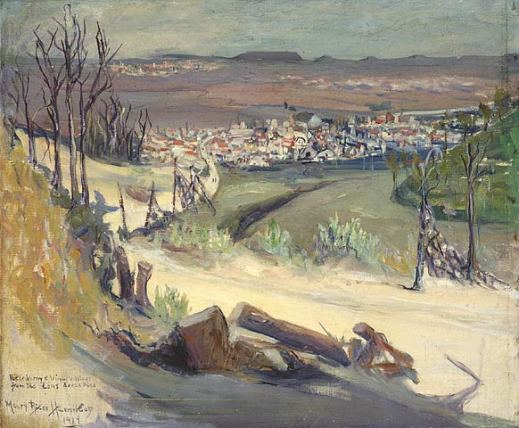 A colour painting of a road lined with broken trees leading down to a town. In the distance can be seen other villages and hills.