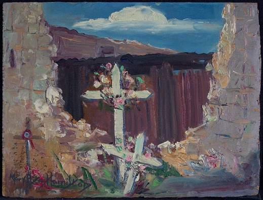 A colour painting of several crosses festooned with flowers in the middle of a gaping stone wall. Behind is a brown structure and the sky is blue with white clouds.