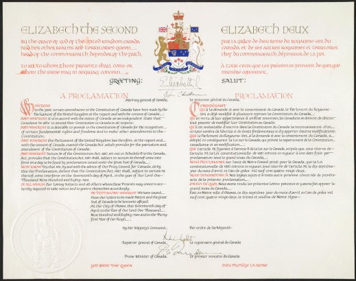 Pale yellow-white document in red and black ink with Canada's coat of arms at the top.