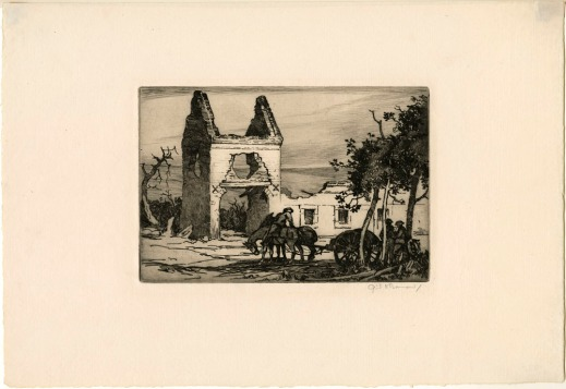 An etching of a group of soldiers around a canon being pulled by a team of horses, with the shell of a destroyed farmhouse in the background.