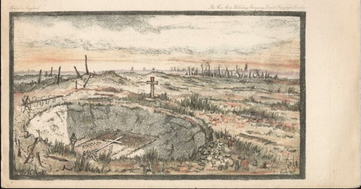 A colour lithograph of a desolate landscape showing a large crater in the middle of which is a cross drawn out with white stones. At the top and the bottom of the crater are two other stone crosses: one Roman and the other Celtic. Barbed wire circles the crater and stumps of bombed trees can be seen in the distance.