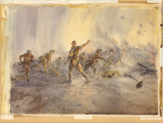 A colour painting of a group of soldiers charging forth, in various poses of throwing grenades. Others are moving forward with guns and bayonets, while others lay on the ground, dead. The colours of the painting are very light pastels and the soldiers are painted with great delicacy.