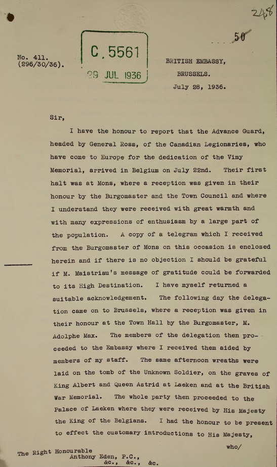 A two-page, typewritten letter and telegram outlining the highlights about the Canadian delegation during their tour.