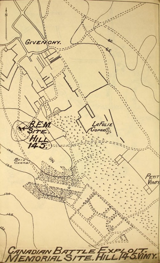 "A map titled, ""Canadian Battle Exploit, Memorial Site. Hill 145."""